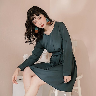 簡約質感造型反折袖洋裝-OB嚴選