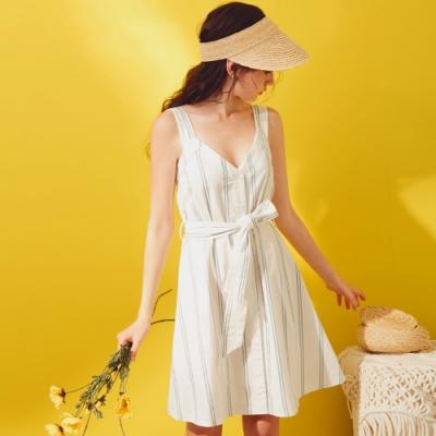 AIR SPACE LADY 清新條紋V領寬帶排釦洋裝(白)