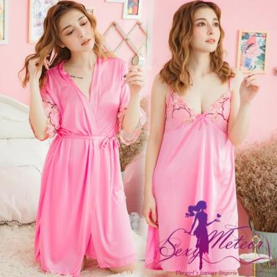 睡衣 全尺碼 V領睡裙+網紗繡花罩衫睡袍二件式睡衣組(唯美深粉) Sexy Meteor