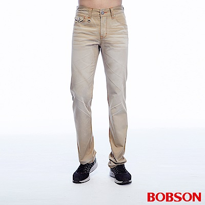 BOBSON 男款刷色半舊卡其直筒褲