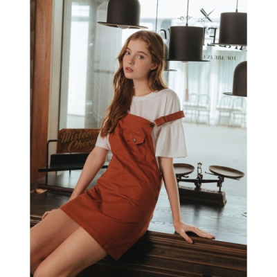 Shester55-貼口袋斜紋吊帶裙(二色)-女【XSH022】