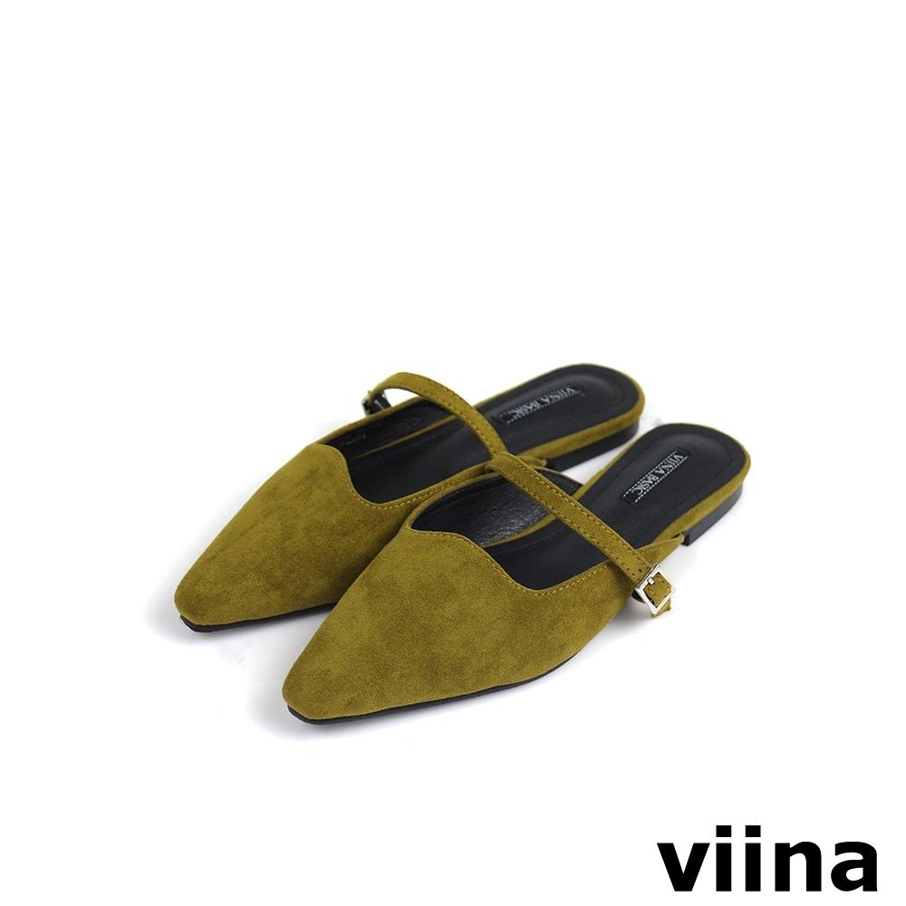 viina Basic 尖頭細皮帶釦穆勒鞋 - 芥黃