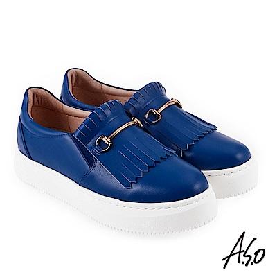 A.S.O 時尚甜心 全真皮流蘇飾釦休閒鞋 藍