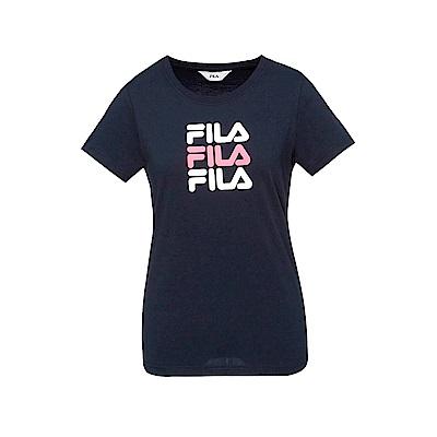 FILA 女款短袖圓領T恤-丈青 5TET-1522-NV
