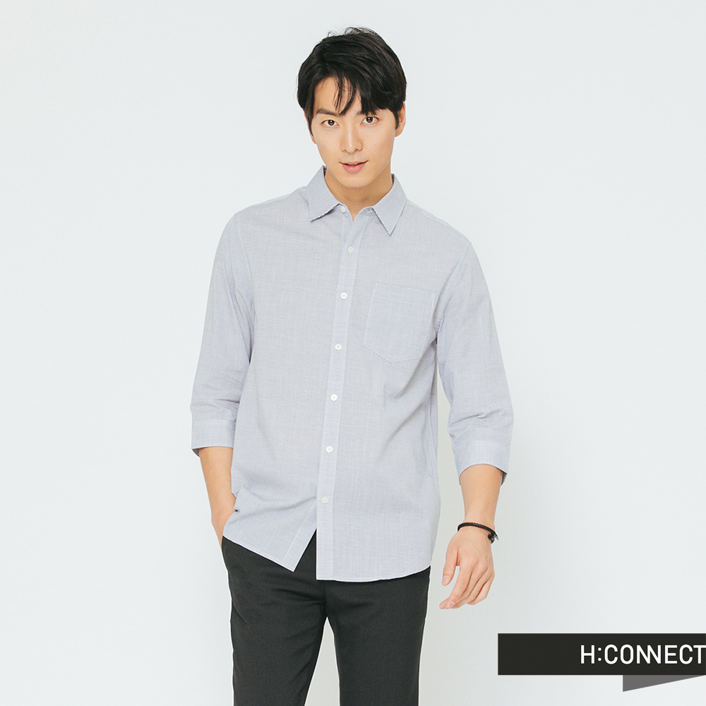 H:CONNECT 韓國品牌 男裝-細格紋七分袖襯衫-藍