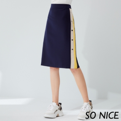 SO NICE時尚金屬釦撞色窄裙