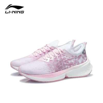 LI-NING 李寧 飛電Discovery女子反光一體織支撐穩定競速跑鞋 ARMR006-6