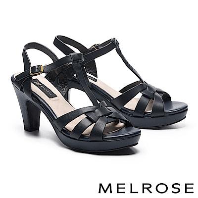 涼鞋 MELROSE 羅馬風格牛皮T字美型高跟涼鞋-藍