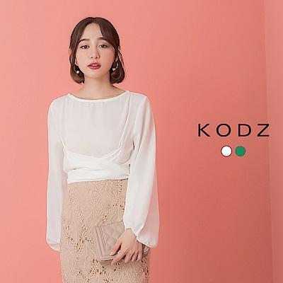 東京著衣-KODZ 氣質名媛綁帶造型微透膚上衣-S.M.L(共兩色)