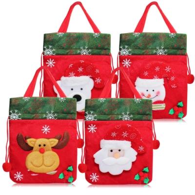 O Pretty 歐沛媞 玩偶造型聖誕手提束口布袋-多款可選[聖誕老人/麋鹿/小熊/雪人](19X22cm)-耶誕佈置交換禮物