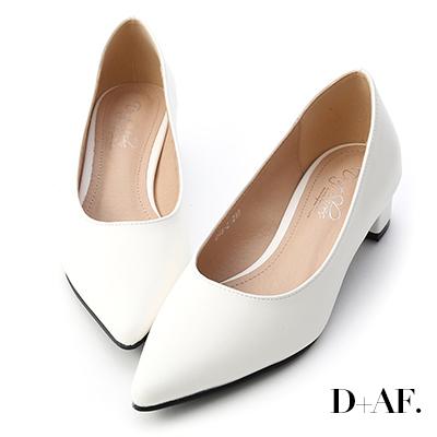 D+AF 知性簡約.素面顯瘦尖頭中跟鞋*白