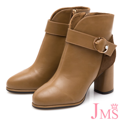 JMS-典雅時尚鑽飾拼接粗高跟短靴-棕色
