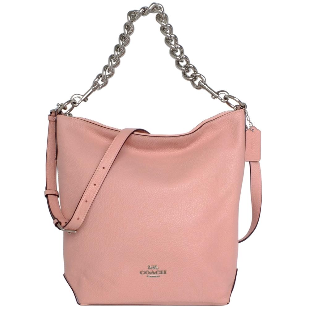COACH ABBY CHAIN粉紅荔枝紋全皮肩背/斜背大款水桶包