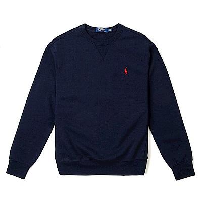 Polo Rlaph Lauren 年度熱銷經典刺繡標誌鋪棉大學T恤-深藍色