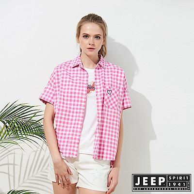 JEEP 女裝 簡約休閒格紋短袖襯衫-粉色