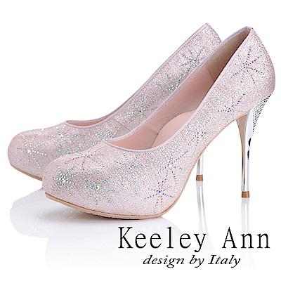 Keeley Ann 優雅迷人~水鑽唯美質感真皮軟墊高跟鞋(玫瑰金色)