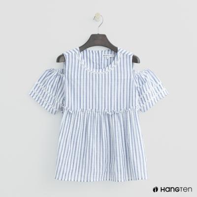 Hang Ten- 青少童裝-純棉海洋條紋襯衫-藍