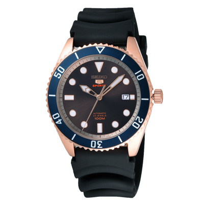 SEIKO 扭轉時尚橡膠錶-黑(SRPB96K1)-44mm