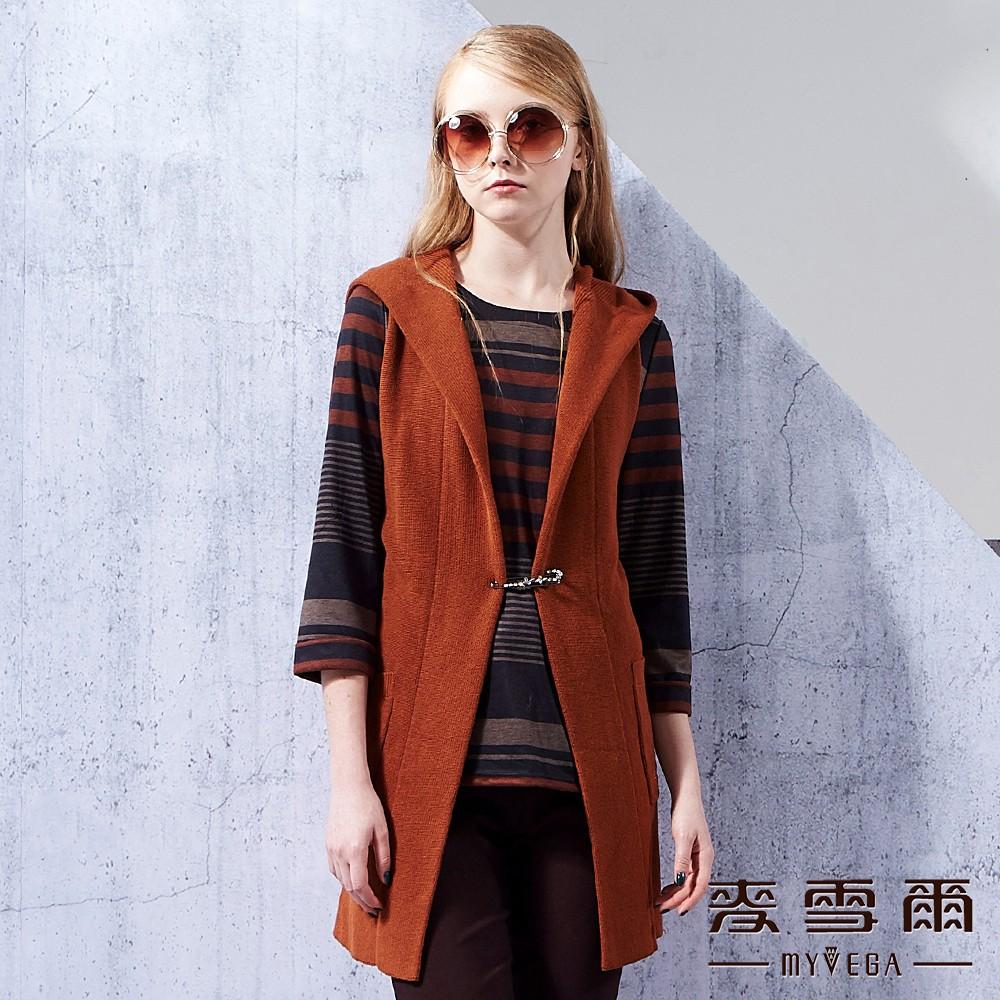【麥雪爾】棉質素色針織連帽長版開襟背心