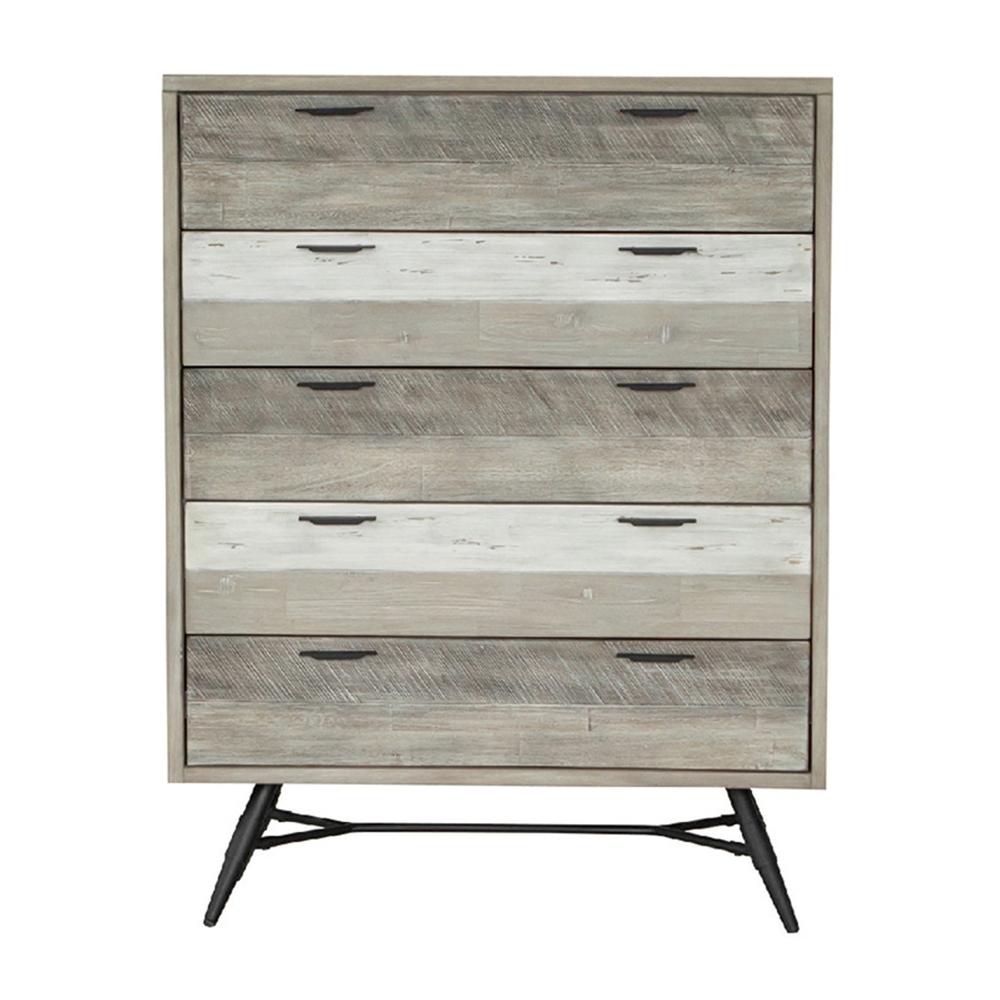 【AT HOME】工業仿舊木紋3.3尺五抽櫃實木斗櫃/床邊櫃/收納櫃(哈瓦那)