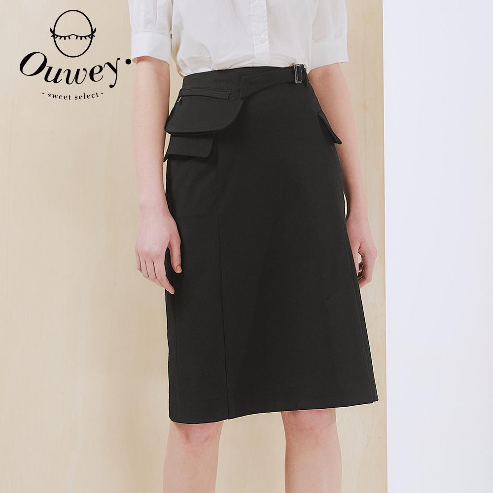 OUWEY歐薇 時尚造型腰包口袋羅馬布中長裙(黑)3212062251