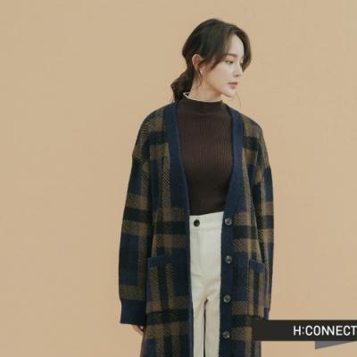 H:CONNECT 韓國品牌 女裝 - 復古格紋針織外套 - 深藍