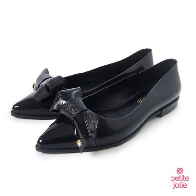 Petite Jolie--可愛領結尖頭果凍娃娃鞋-亮黑色