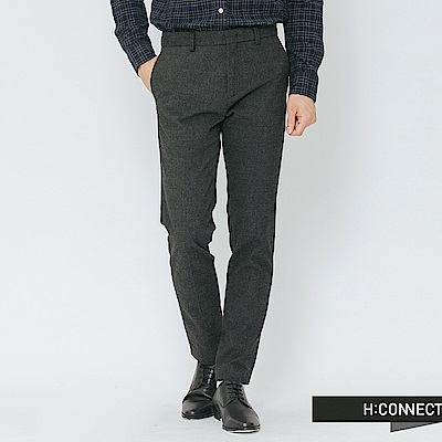 H:CONNECT 韓國品牌 男裝-混織修身西裝褲-深灰