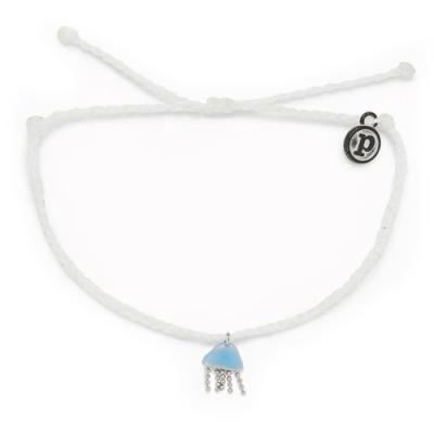 Pura Vida 美國手工 JELLYFISH CHARM 慈善系列 銀色水母白色蠟線衝浪手鍊手環
