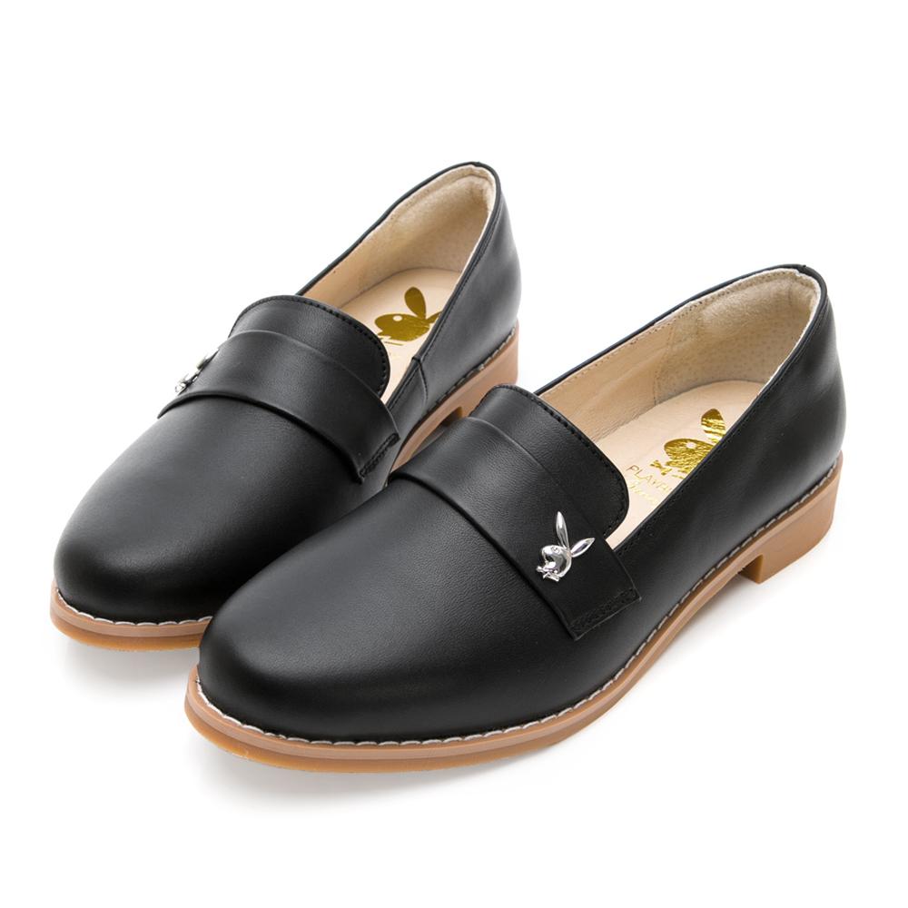 PLAYBOY 法式優雅 英倫時尚低跟樂福鞋-黑