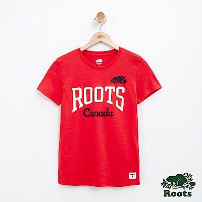 女裝Roots LOGO短袖T恤-紅