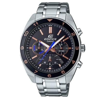 EDIFICE 帥奇超高性能賽車風格不鏽鋼腕錶-黑(EFV-590D-1A)/50.6mm