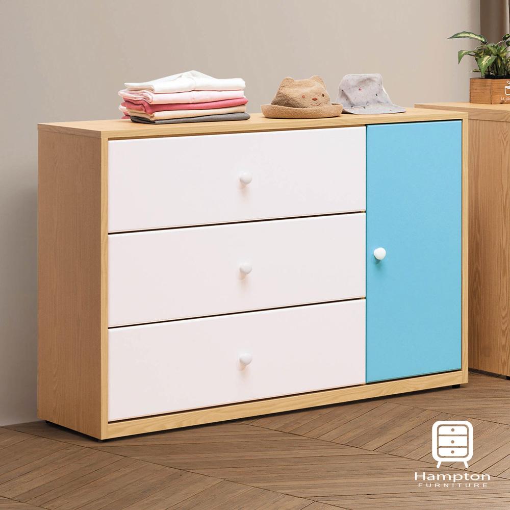 漢妮Hampton凱爾系列藍白三斗櫃-106x40x80.5cm
