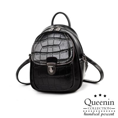 DF Queenin日韓 - 經典時尚女王3WAYS鱷魚皮紋肩背後背包