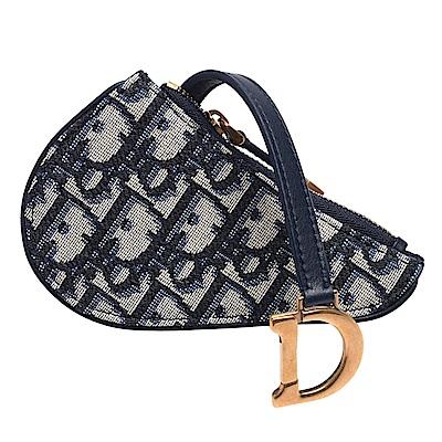 Dior Saddle系列經典OBLIQUE緹花布小牛皮飾邊拉鍊零錢包