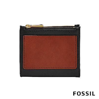 FOSSIL Shelby 真皮系列兩折拉鍊短夾-黑色/酒紅色