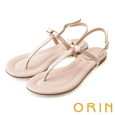 ORIN 夏日風情 細緻典雅T字牛皮夾腳涼鞋-粉色