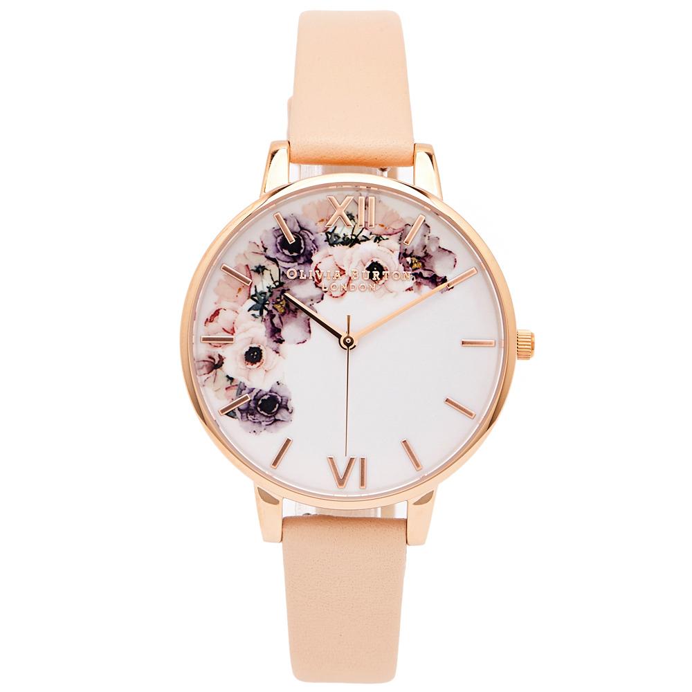 OLIVIA BURTON 華麗花香款皮革錶帶手錶(OB16PP30)-白面/38mm