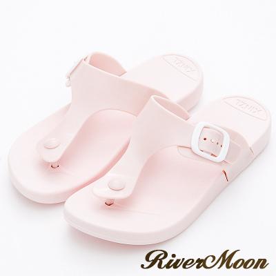 River&Moon拖鞋-休閒百搭Q軟防水夾腳涼拖鞋-粉紅