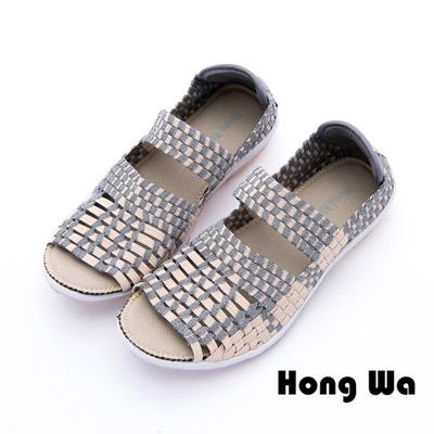Hong Wa - 運動休閒透氣渲染編織魚口布鞋 - 棕