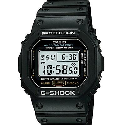 CASIO卡西歐 G-SHOCK潮流炫黑運動電子錶/DW-5600E-1