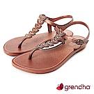 Grendha 東洋風情平底涼鞋-紅褐色