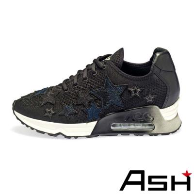 ASH-LUCKY STAR星星編織增高氣墊運動鞋-藍