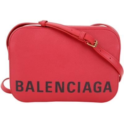 BALENCIAGA VILLE 品牌字母粒面小牛皮相機包(紅色/S)