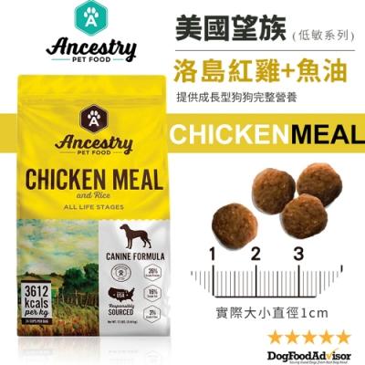 美國Ancestry望族天然低敏犬糧-洛島紅雞+大西洋魚油 4LBS(1.81kg) 兩包組