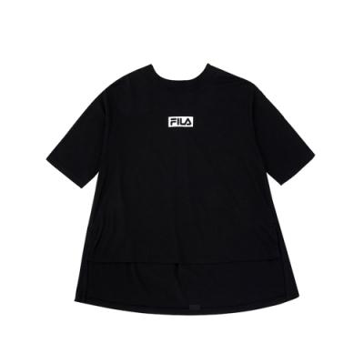 FILA KIDS #架勢新潮 女童五分袖上衣-黑色 5TEV-4416-BK