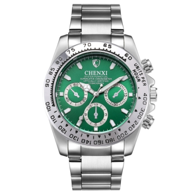 Mirabelle夜光顯時 假三眼不鏽鋼男錶 銀帶綠面42mm