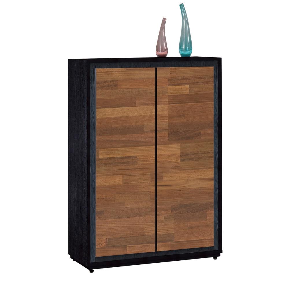 文創集 伊比時尚2.7尺雙色二門鞋櫃/玄關櫃-80x39x120cm免組