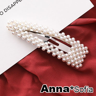 AnnaSofia 優雅三角編織珠 純手工小髮夾邊夾(銀系)