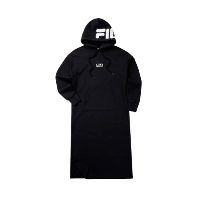 FILA #LINEA ITALIA 針織連帽洋裝-黑 5DRT-5428-BK